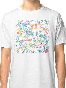 Writing instruments texture background pattern Classic T-Shirt