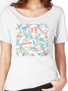 Writing instruments texture background pattern Women's Relaxed Fit T-Shirt