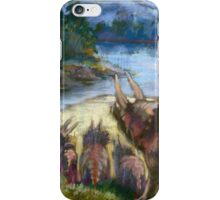 Herd of triceratopses is walking to a river iPhone Case/Skin