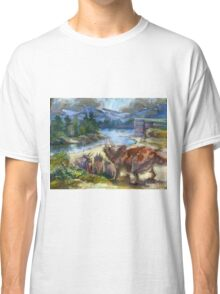 Herd of triceratopses is walking to a river Classic T-Shirt