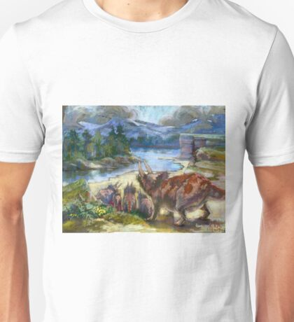 Herd of triceratopses is walking to a river Unisex T-Shirt