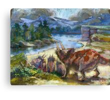 Herd of triceratopses is walking to a river Canvas Print