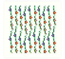 Pixel Floral Pattern Art Print