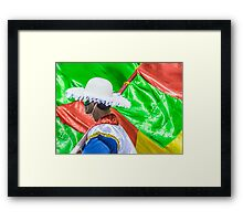 Costume Man and Flags at Carnival Parade of Uruguay Framed Print