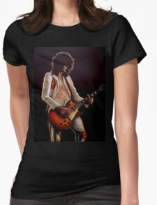 Jimmy Page In Led Zeppelin Painting Womens Fitted T-Shirt