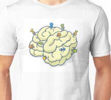 Reminder pins nailed to brain Unisex T-Shirt