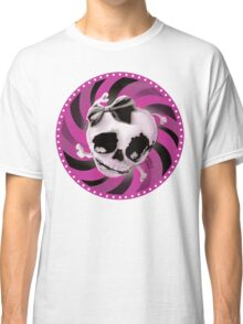Girly Pink Skull with Black Bow Classic T-Shirt