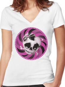 Girly Pink Skull with Black Bow Women's Fitted V-Neck T-Shirt