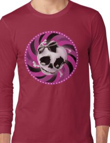 Girly Pink Skull with Black Bow Long Sleeve T-Shirt