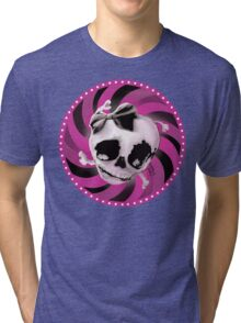 Girly Pink Skull with Black Bow Tri-blend T-Shirt