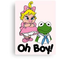 Muppet Babies - Kermit & Miss Piggy - Oh Boy Canvas Print