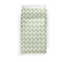 Picnic with Cthulhu  - Green on Cream Duvet Cover