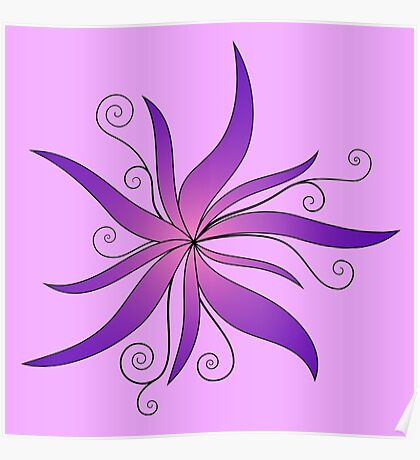 Swirly Flower Poster