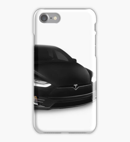 Black 2017 Tesla Model X luxury SUV electric car isolated on white art photo print iPhone Case/Skin