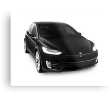 Black 2017 Tesla Model X luxury SUV electric car isolated on white art photo print Metal Print