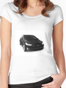 Black 2017 Tesla Model X luxury SUV electric car isolated on white art photo print Women's Fitted Scoop T-Shirt