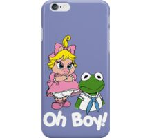 Muppet Babies - Kermit & Miss Piggy - Oh Boy - White Font iPhone Case/Skin