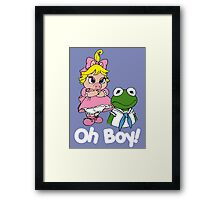 Muppet Babies - Kermit & Miss Piggy - Oh Boy - White Font Framed Print