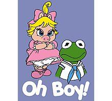 Muppet Babies - Kermit & Miss Piggy - Oh Boy - White Font Photographic Print