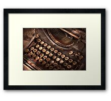 Steampunk - Typewriter - Too tuckered to type Framed Print