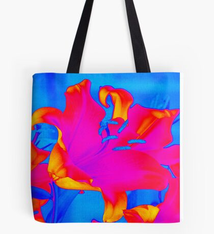 Bright Multi-Coloured Abstract Lily Tote Bag