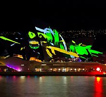 Shark Sails Too - Sydney Opera House - Sydney Vivid Festival by Bryan Freeman