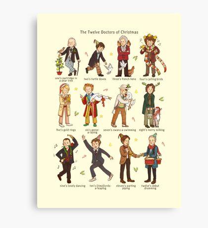 The Twelve Doctors of Christmas Canvas Print