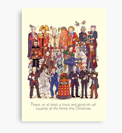 The party doesn't start until the Doctor walks in...twelve times Canvas Print