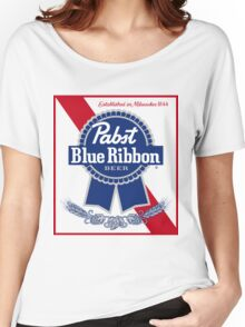 Pabst Blue Ribbon Beer PBR  Women's Relaxed Fit T-Shirt
