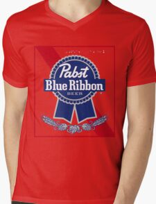 Pabst Blue Ribbon Beer PBR  Mens V-Neck T-Shirt