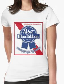 Pabst Blue Ribbon Beer PBR  Womens Fitted T-Shirt