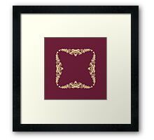 Wreath of Gold Flowers on Royal Red  Framed Print