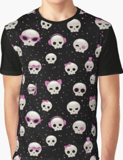 Cute Skulls with Pink Accessories Graphic T-Shirt