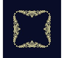 Wreath of Gold Flowers on Navy Blue Photographic Print