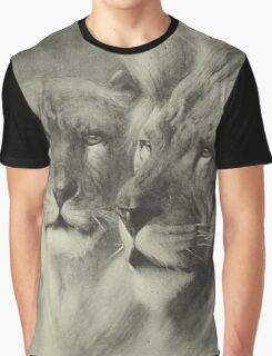 Vintage Lion & Lioness Portrait Graphic T-Shirt