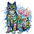 Watercolor cat rainbow colors by meomeo