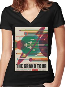 Grand Tour Space Travel Poster Women's Fitted V-Neck T-Shirt