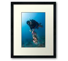 Happy diver, happy ocean! Framed Print