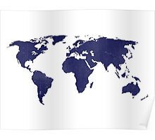 midnight blue world map Poster