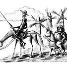 Don Quixote and Sancho Panza ink drawing by Vitaliy Gonikman