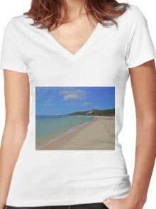 Beach, Tangalooma, Queensland, Australia Women's Fitted V-Neck T-Shirt