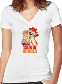 Calvin And Hobbes 2 Women's Fitted V-Neck T-Shirt