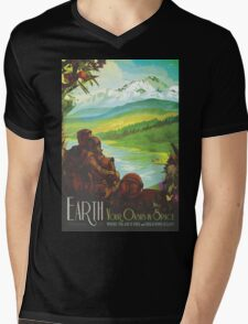 Earth Space Travel Poster Mens V-Neck T-Shirt