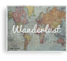 Wanderlust on Vintage World Map Canvas Print
