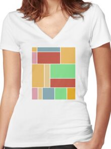 Abstract #347 1960s Palette Women's Fitted V-Neck T-Shirt