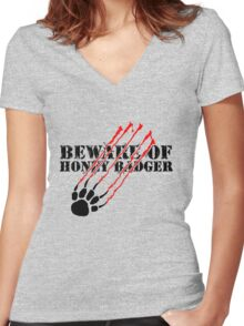Beware of honey badger Women's Fitted V-Neck T-Shirt