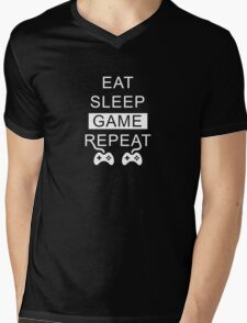 Eat Sleep Game Repeat Mens V-Neck T-Shirt