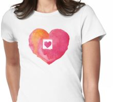 Watercolor heart Womens Fitted T-Shirt