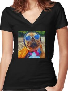 Cool Pug Painting Women's Fitted V-Neck T-Shirt
