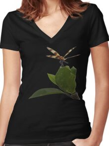 Dragonfly on Mangrove Remix Women's Fitted V-Neck T-Shirt
